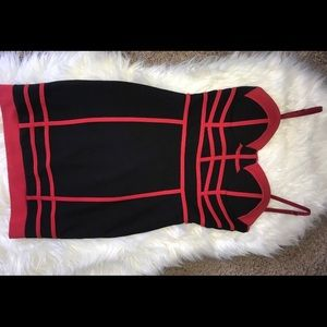 Women Black Red Bodycon Bustier Size Small Dress